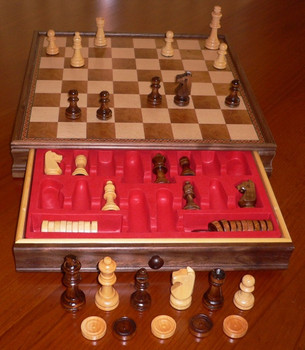 Chess/Draughts Set with Drawer