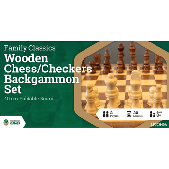 Chess, Checkers & Backgammon 3in1 40cm Set
