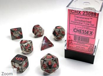 Translucent Polyhedral Dice Set Smoke-Red