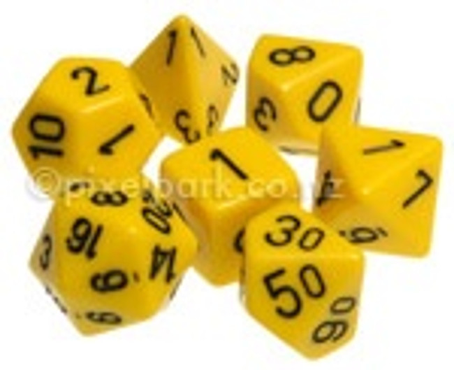 Opaque Polyhedral Dice Set Yellow-Black