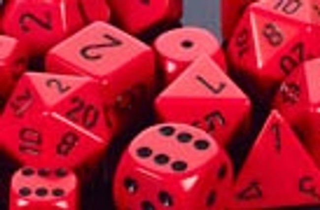 Opaque Polyhedral Dice Set Red-Black