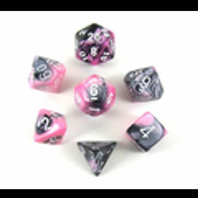 Gemini Black-Pink w/ White Polyhedral 7-Die Set