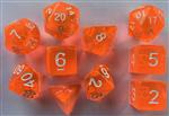 Translucent Orange 10pc Dice Set