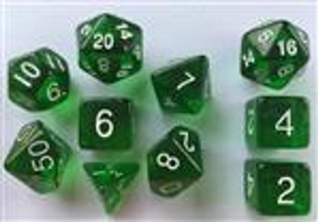 Translucent Dark Green 10pc Dice Set