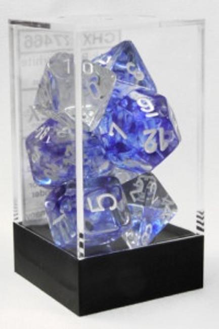Dice Nebula Polhedral Dark Blue/White