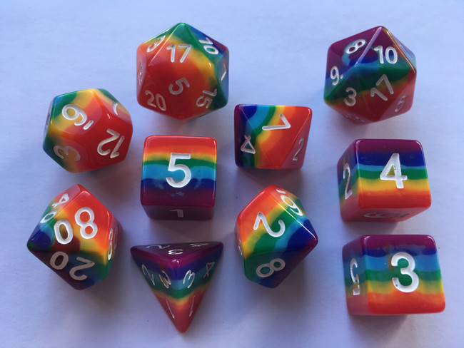 Rainbow 10pc Dice Set