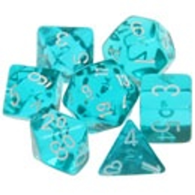 Translucent Polyhedral Dice Set Teal-White