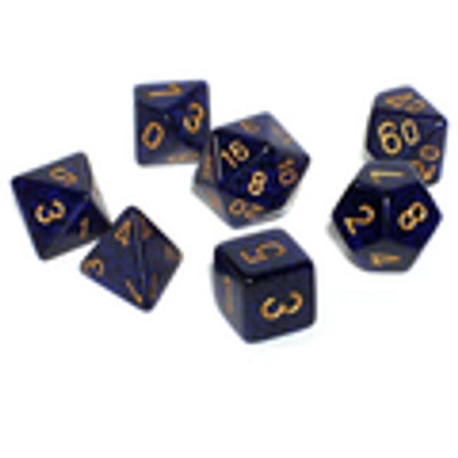 Speckled Golden Cobalt Polyhedral 7-Die Set