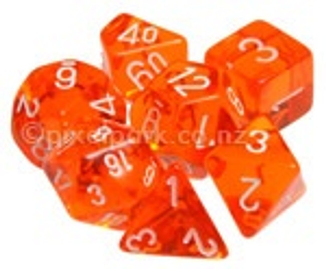 Translucent Polyhedral Dice Set Orange-White