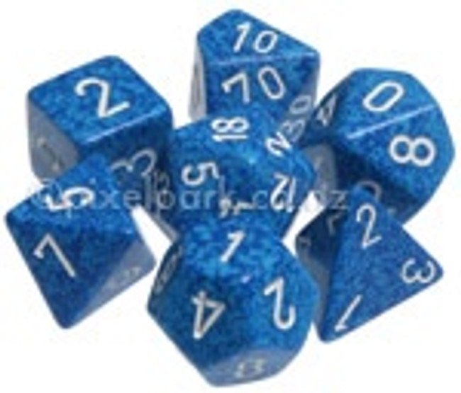 Speckled Polyhedral Dice Set Water