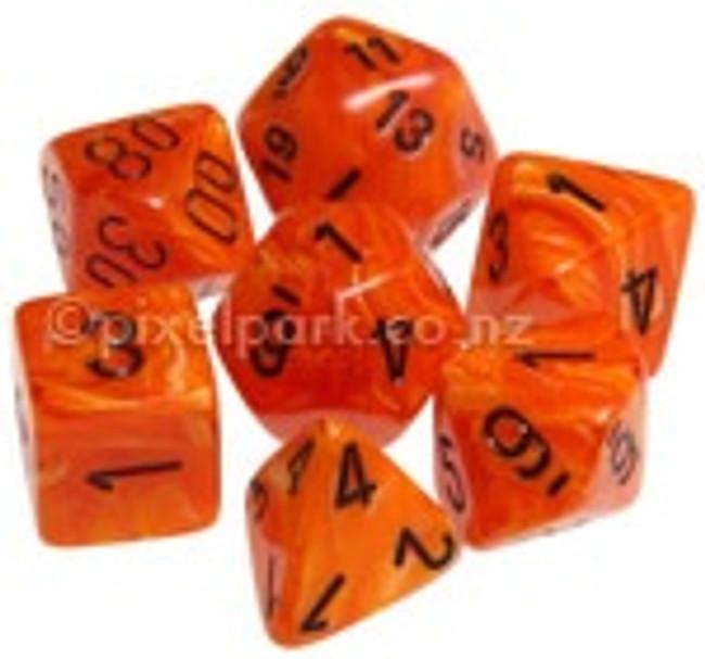 Polyhedral Dice Set Vortex Orange-Black