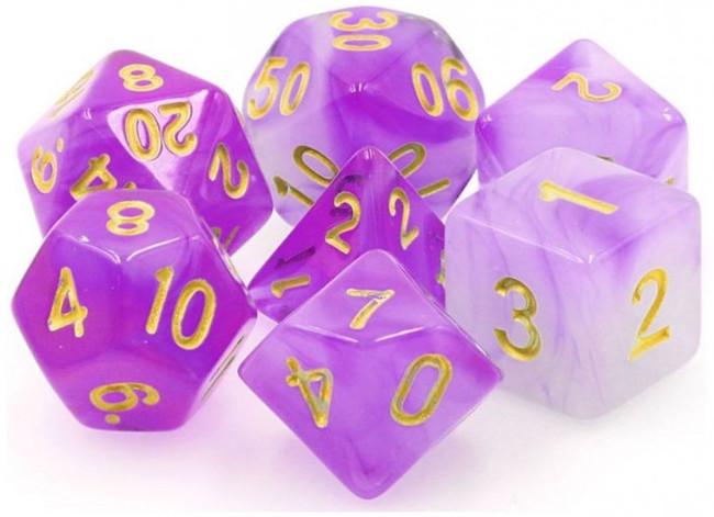 TMG RPG Dice - Amethyst Dream Purple Haze Translucent 16mm (set of 7)
