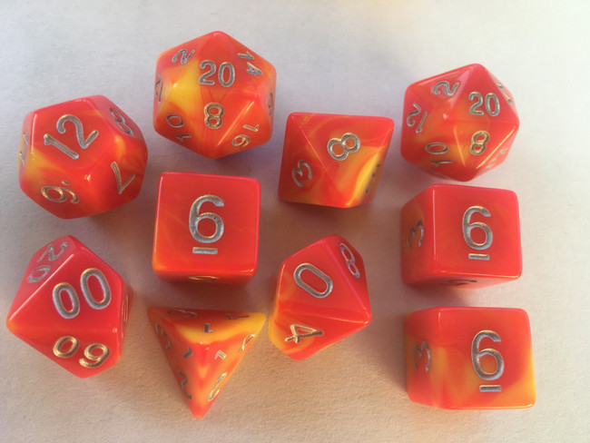 Veined Two Tone Rose Red Yellow 10pc Dice Set