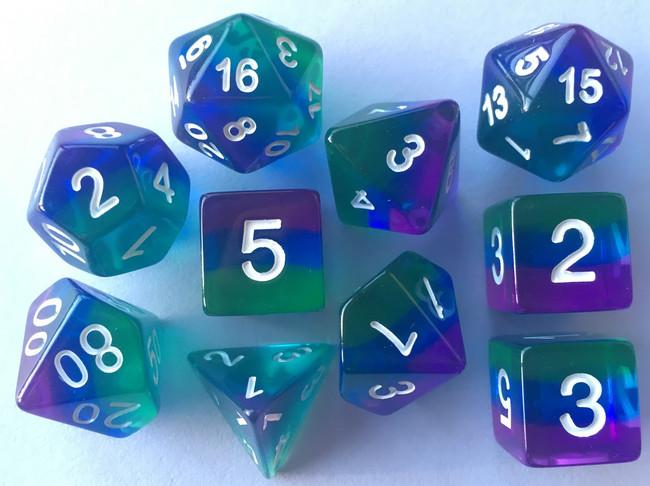 Translucent Purple/Blue/Green  10pc Dice Set