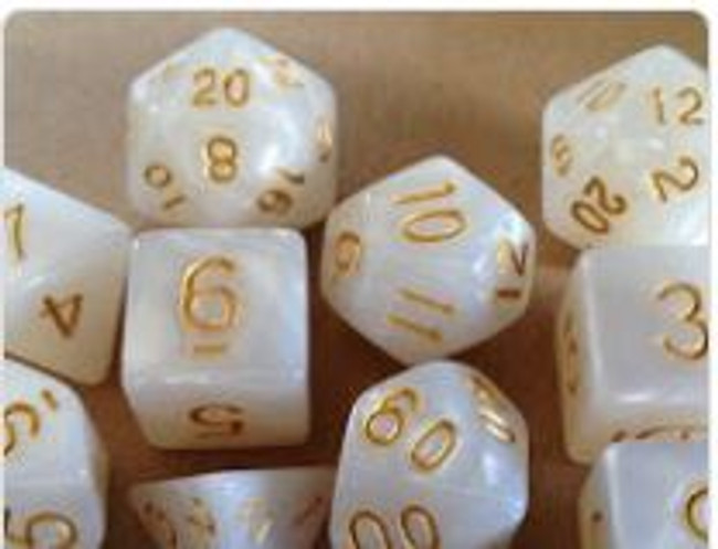 Marbled Ivory 10pc Dice Set