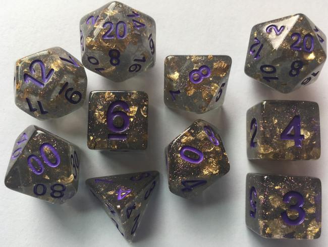 In Suspension 10pc Gold Foil Dark Dice Set