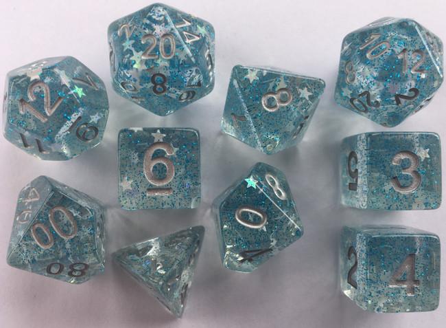 In Suspension 10pc Blue Glitter & Silver Star Dice Set