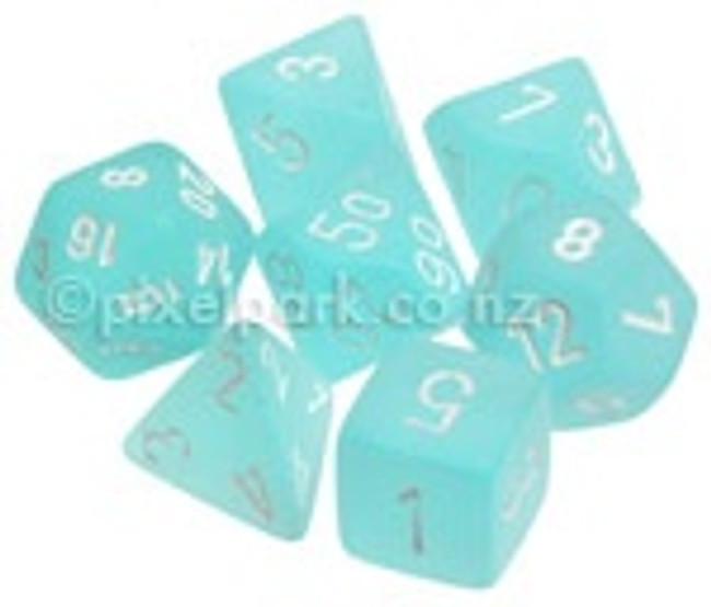 Polyhedral Dice Set Frosted Teal-White