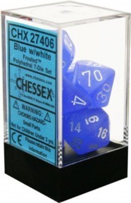 Dice Frosted Polyhedral Blue/White