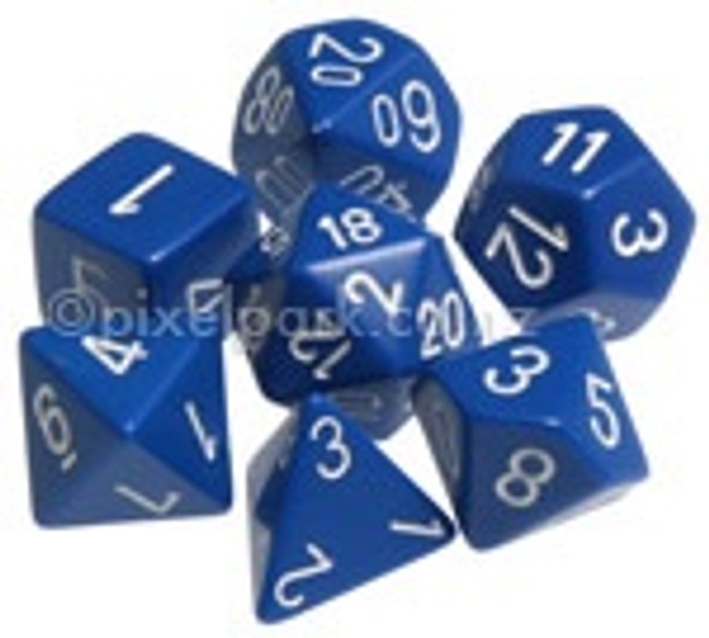 Opaque Polyhedral Dice Set Blue-White