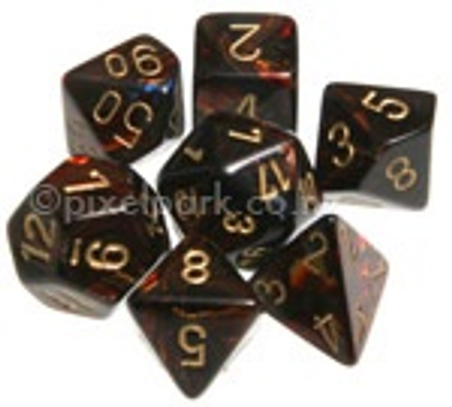 Polyhedral Dice Set Scarab Blue Blood-Gold