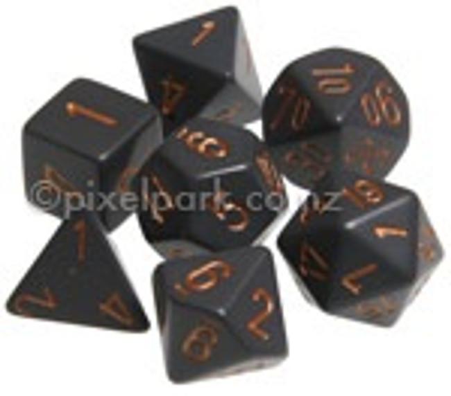 Opaque Polyhedral Dice Set Dark Grey-Copper