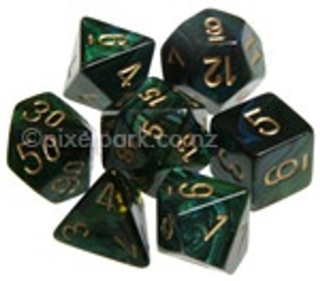 Polyhedral Dice Set Scarab Jade-Gold