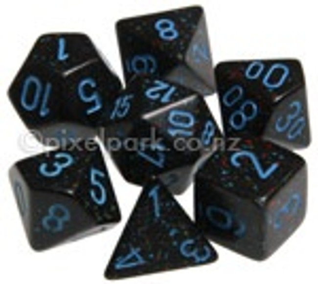 Speckled Polyhedral Dice Set Blue Stars