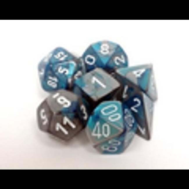 Gemini Steel-Teal w/ White Polyhedral 7-Die Set