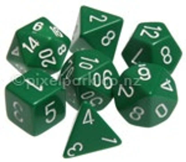 Opaque Polyhedral Dice Set Green-White