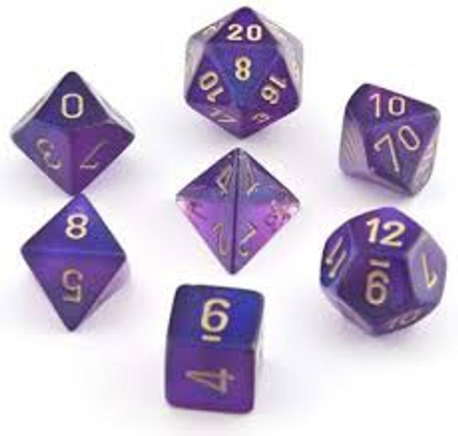 Dice  Borealis Polyhedral Royal Purple Gold
