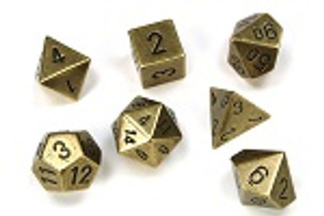Metal (Old Brass) Dice Set