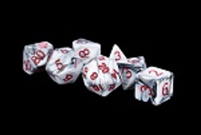 MDG 16mm  Acrylic Dice: White & Black Marble effect w/Red Numbers