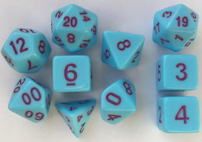 Classic Opaque 10pc Pastel Blue/Marron Dice Set