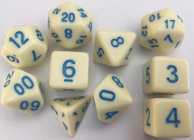 Classic Opaque 10pc Eggshell/Blue Dice Set