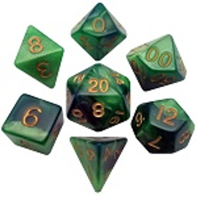 MDG 16mm Acrylic Dice: Green & Light Green with Gold Numbers