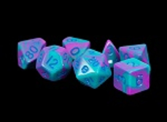 MDG 16mm Acrylic Dice: Purple & Teal with Blue Numbers