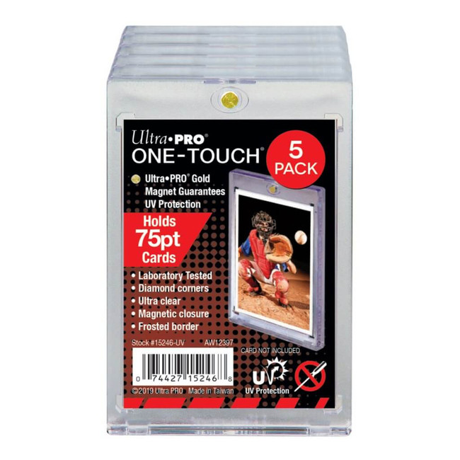 UltraPro One Touch Magnetic Card Holder 75pt 5 pack