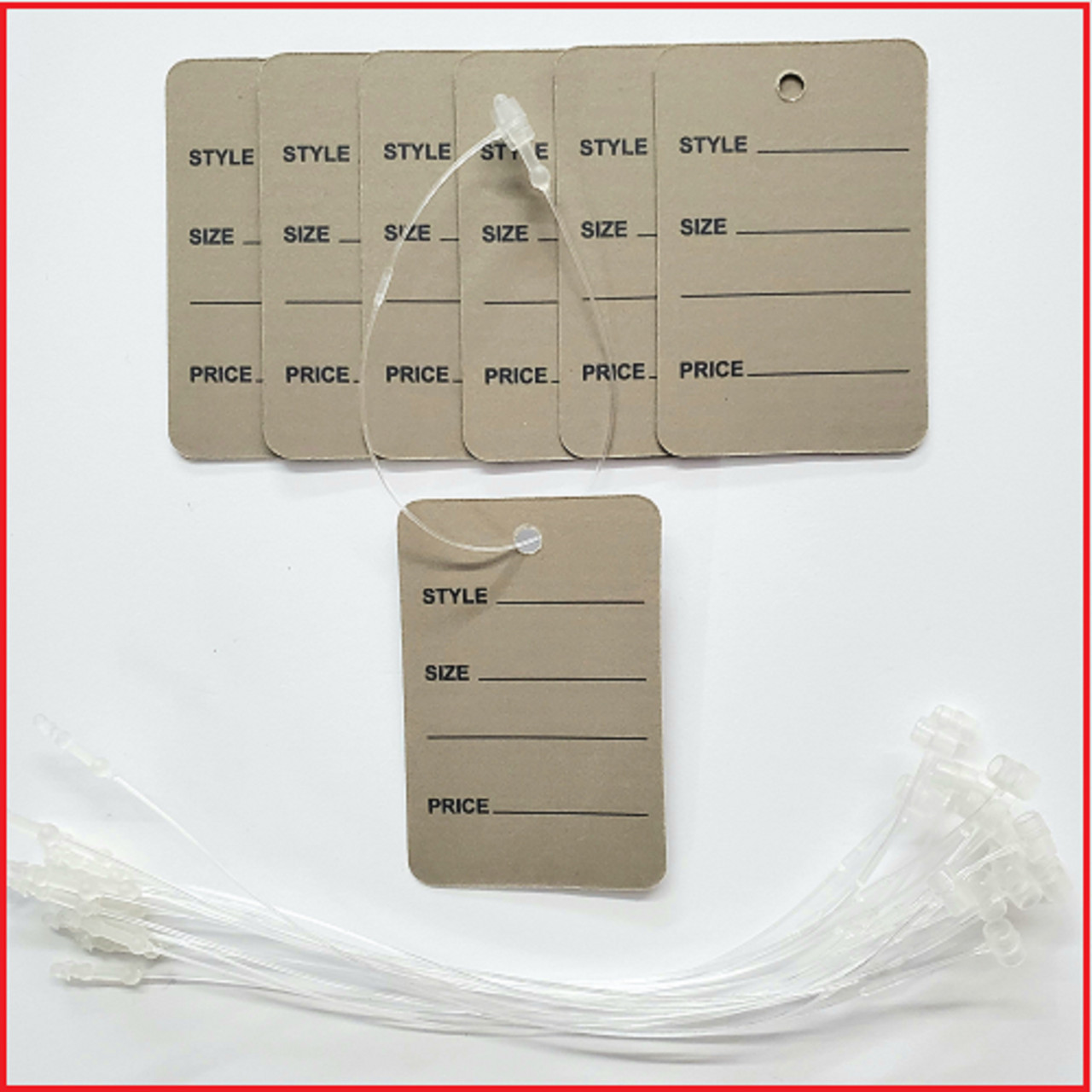 Grey Printed Price Paper Tag labels with White Loop Pins