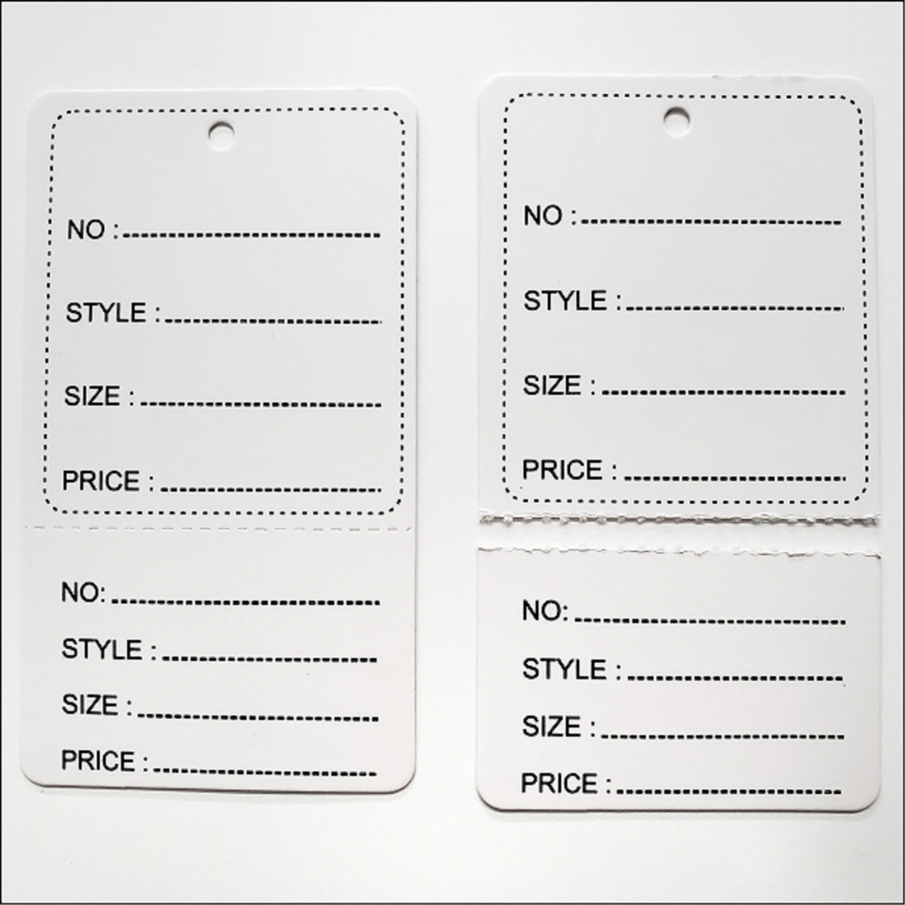 2 Part Printed Paper tag labels