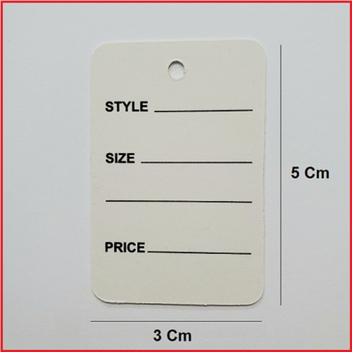 1 Part White Printed Price Paper Tag labels