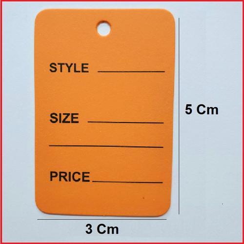 Orange Printed Price Paper Tag labels