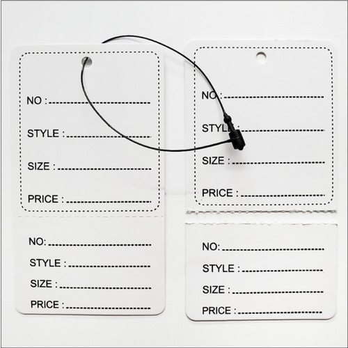 2 Part Printed Paper tag labels with Black Loop Pins
