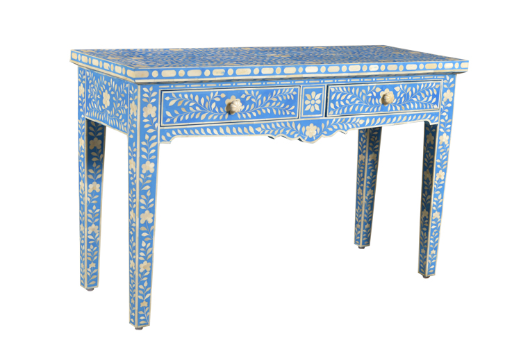 Bone Inlay console table - Blue - Sohal Living