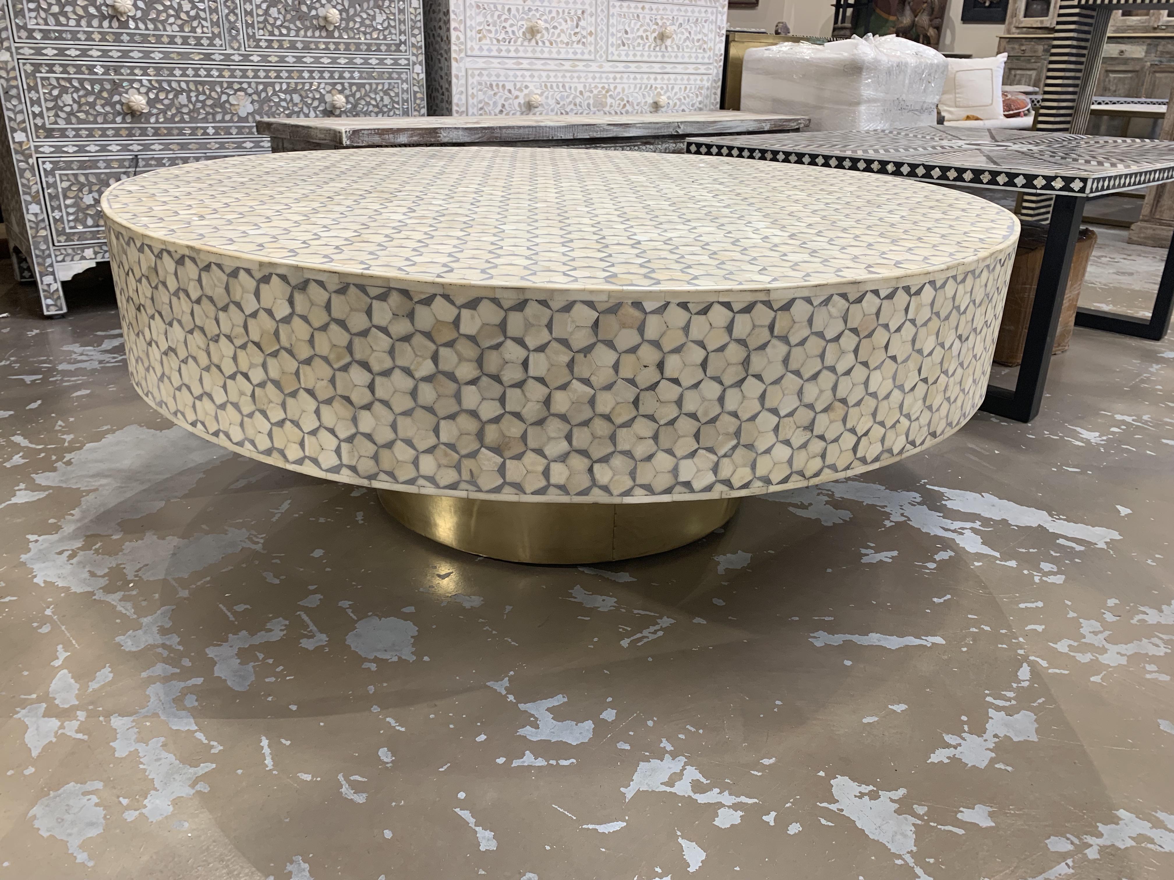 Bone Inlay Coffee Table With Brass Base Grey Sohal Living