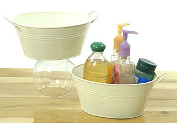 9 inch Oval Metal Tin Tub with Handles - Cream