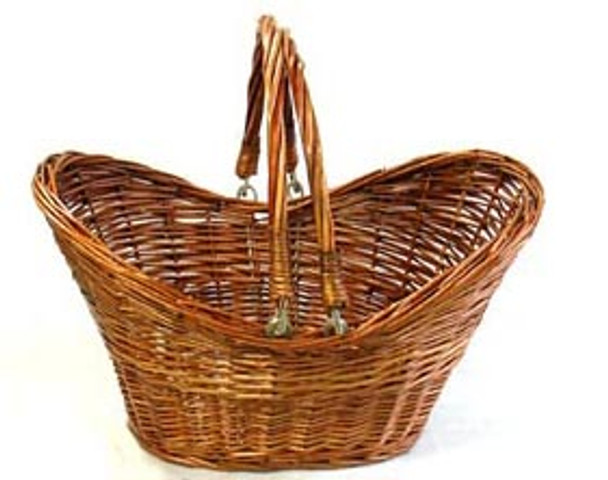 WILLOW SHOP BASKET Brown Stained FOLD HANDLE