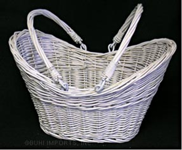 WILLOW BOAT BASKET Painted White FOLD HANDLE