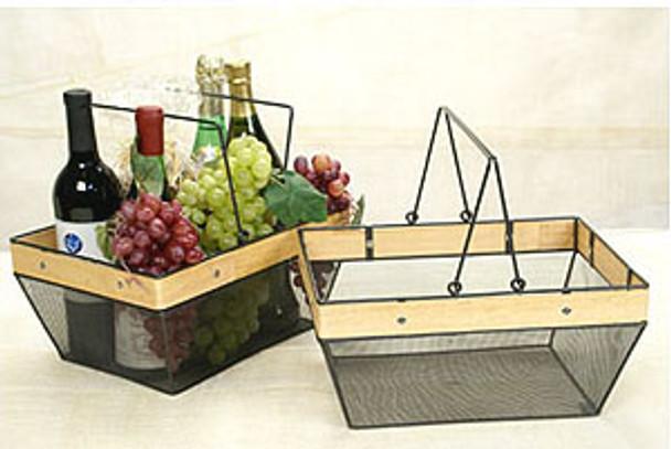 MARKET SHOP BASKET Black Mesh Wire / Wood Basket