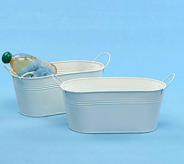 12 inch Oval Metal Tin Tub - White